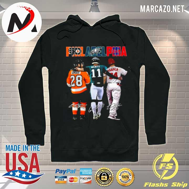 Philadelphia Sport Teams 28 Giroux 11 Wentz And 34 Harper Signatures s Hoodie