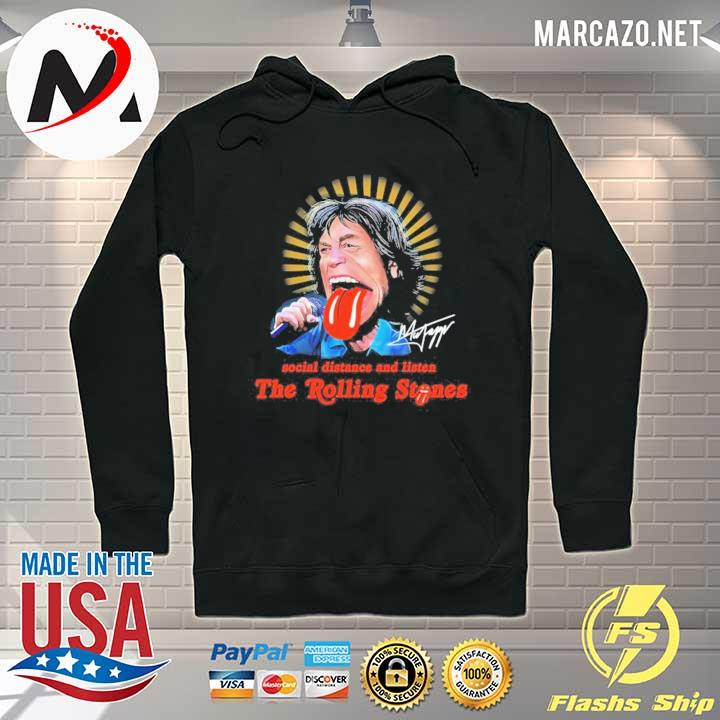 Social Distance And Listen The Rolling Stones Signature Shirt Hoodie