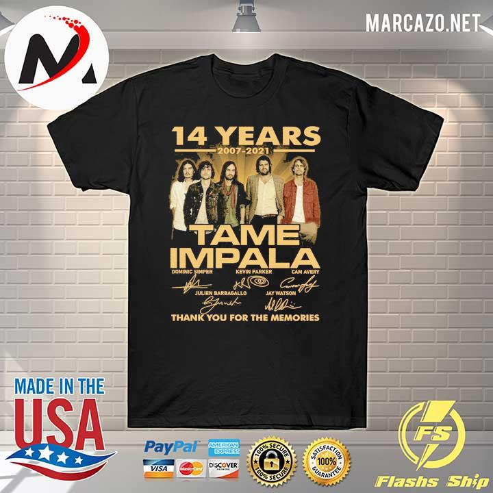 14 Years 2007 - 2021 Tame Impala Dominic simper kevin parker cam avery Thank You For The Memories Shirt
