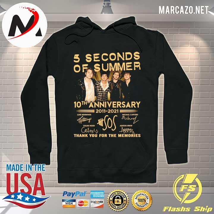 5 Seconds OF Summer 10th anniversary 2011 - 2021 signature thank you for the memories Shirt Hoodie