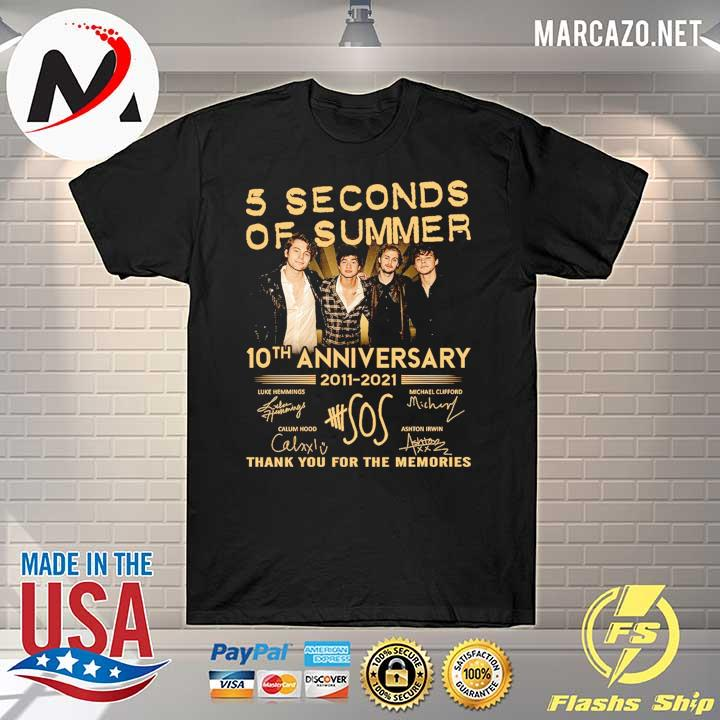 5 Seconds OF Summer 10th anniversary 2011 - 2021 signature thank you for the memories Shirt