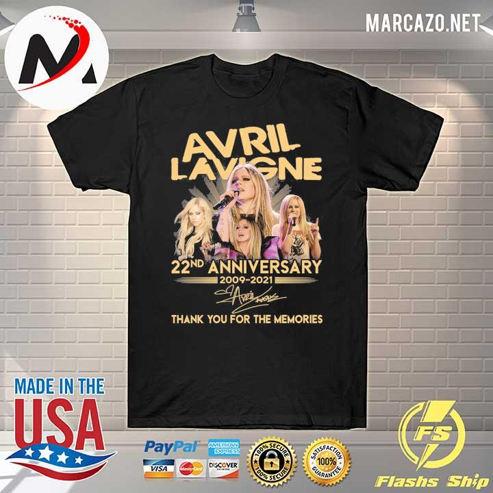 Avril Lavigne 22nd anniversary 2009 - 2021 signature thank you for the memories shirt