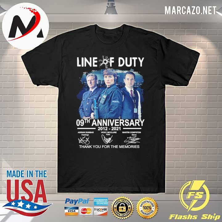 Live Of Duty 09th Anniversary 2021 - 2021 Adrian Dunbar Vicky Mcclure Martin Compston Signatures Thank You For The Memories Shirt