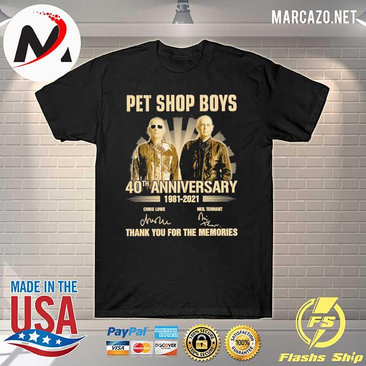 pet ship boys 40th anniversary 1981 - 2021 chris lowe neil tennant signatures thank you for the memories shirt