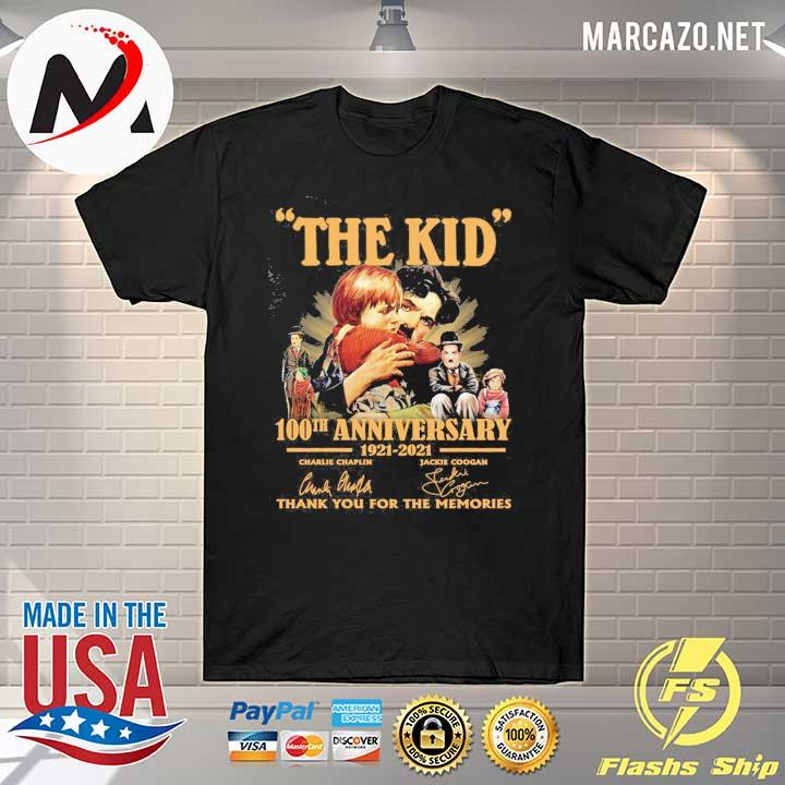 The Kid 100th anniversary 1921 - 2021 Charlie Chaplin Jackie Coogan Signatures Thank You For The Memories Shirt