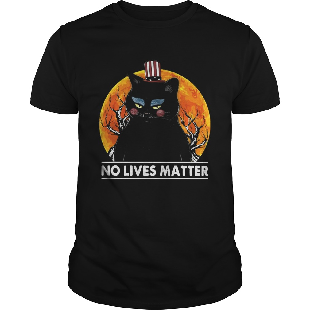 Black Cat No lives matter sunset Unisex
