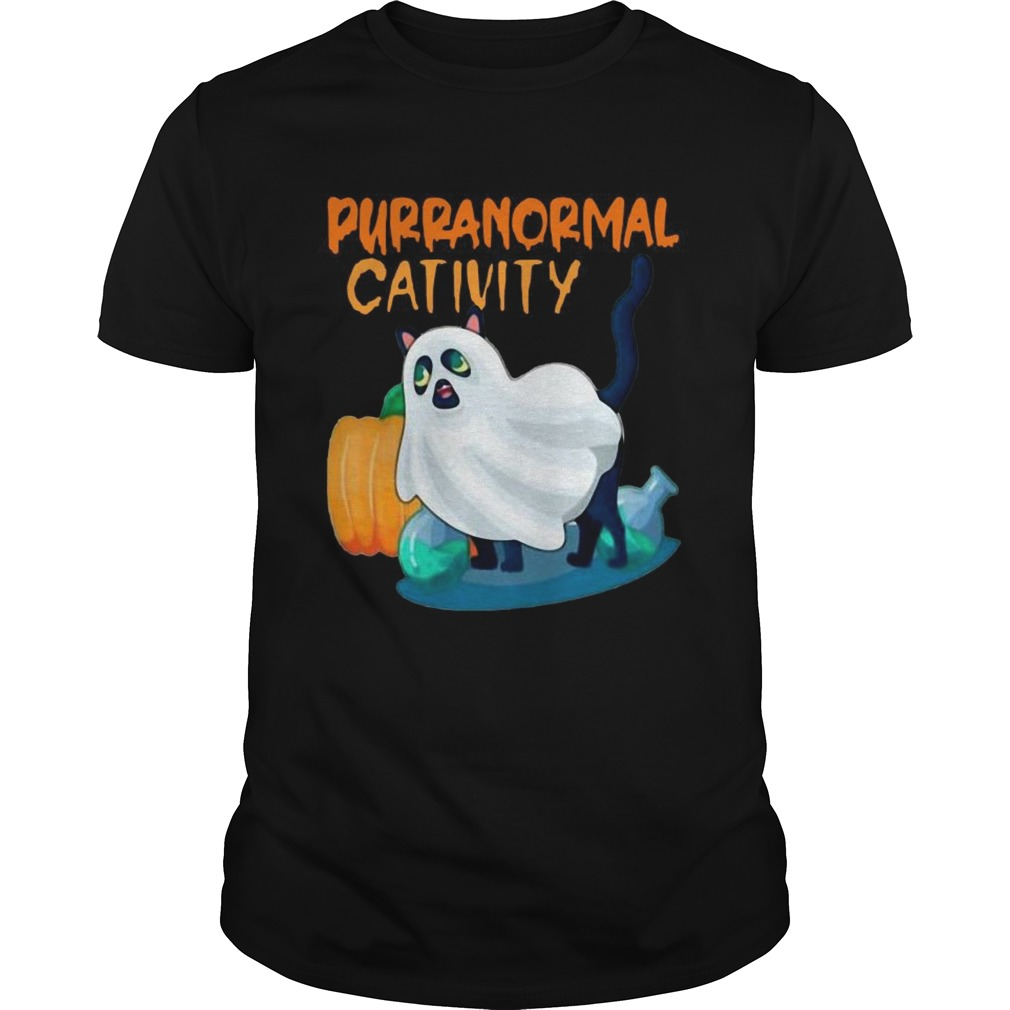 Ghost Cat Purranormal Activity Funny Halloween Unisex