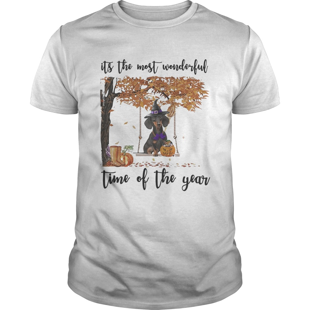 Halloween witch dachshund its the most wonderful time of the year leaves tree Unisex