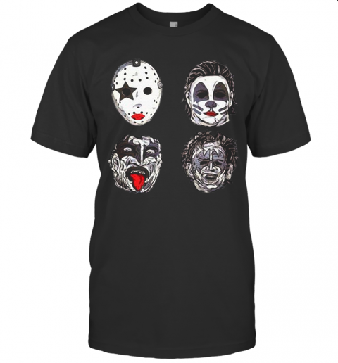 Horror Movie Character Faces Halloween T-Shirt Classic Men's T-shirt