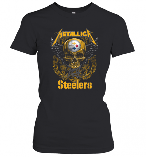 Skull Metallic Steelers Pittsburgh Halloween T-Shirt Classic Women's T-shirt
