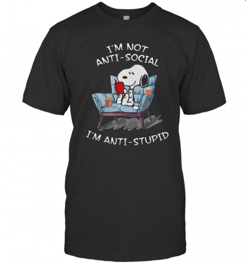 Snoopy I'M Not Anti Social I'M Anti Stupid T-Shirt Classic Men's T-shirt
