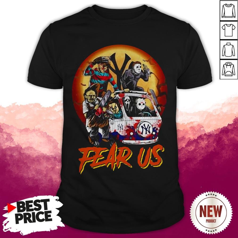 Top Fear Us Horror Character Bus NY Logo Halloween Shirt