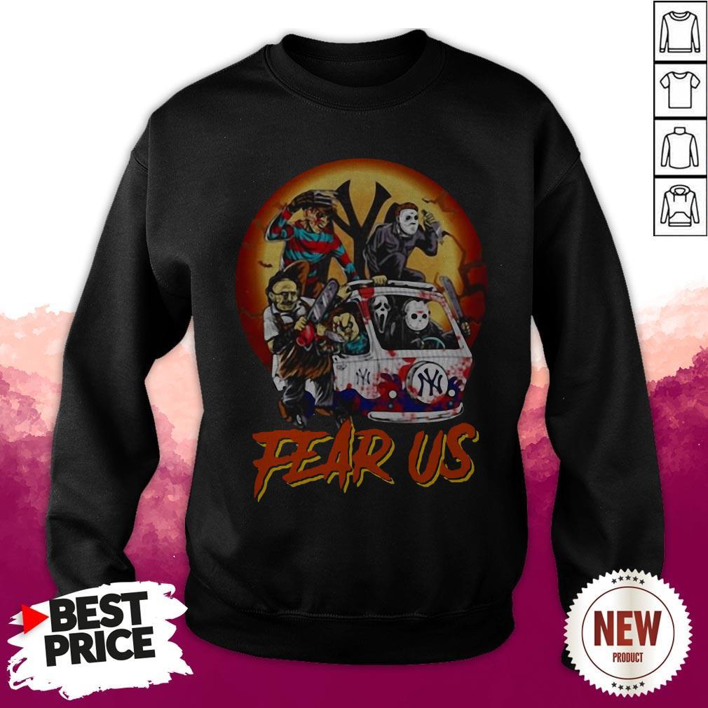 Top Fear Us Horror Character Bus NY Logo Halloween Sweatshirt