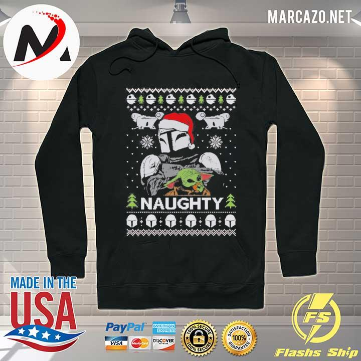 Premium naughty baby yoda christmas sweater black Hoodie